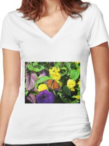 Butterfly on Flowers Women's Fitted V-Neck T-Shirt
