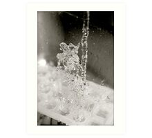 Water goes down, fat man jumps up Art Print