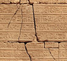 Old Hieroglyphic Wall in Egypt by Tom Prokop