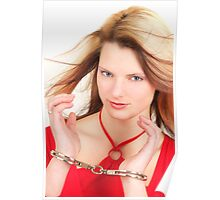 Young Sexy Girl With Police Handcuffs Poster
