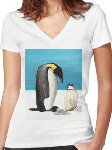 Penguin Love Women's Fitted V-Neck T-Shirt