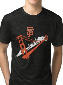 San Francisco Giants Stencil White Tri-blend T-Shirt