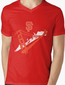 San Francisco Giants Stencil White Mens V-Neck T-Shirt