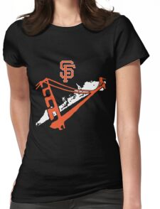 San Francisco Giants Stencil White Womens Fitted T-Shirt