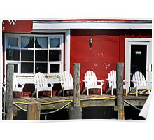Adirondack chairs on a dock Poster