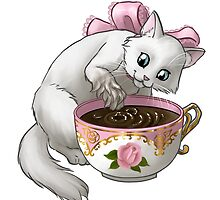 Kitten Tea Party, Splashing White Kitten in Rose Tea Cup by ninniku