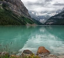 The Calm Shores of Lake Louise by Kristin Repsher