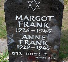 Grave of Anne Frank and her sister Margot by leenvdb