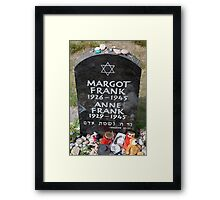 Grave of Anne Frank and her sister Margot Framed Print
