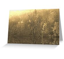 Autumn Morning at the Lake in Sepia Greeting Card