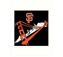 San Francisco Giants Stencil Black Background Art Print