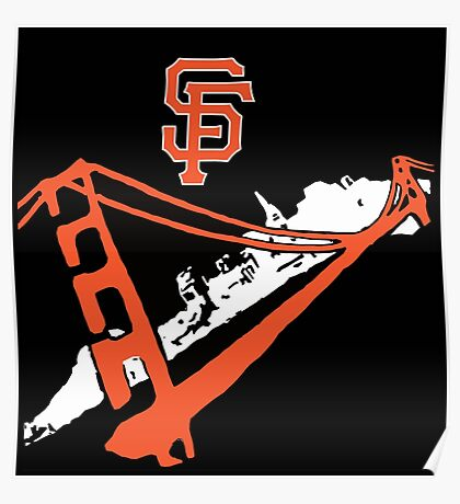 San Francisco Giants Stencil Black Background Poster