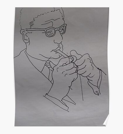 Man Smoking A Pipe. Poster