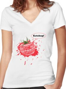 ketchup! Women's Fitted V-Neck T-Shirt