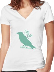 Caw Caw  Women's Fitted V-Neck T-Shirt