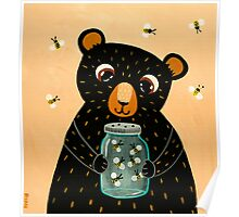 Bee Collecting Bear Poster
