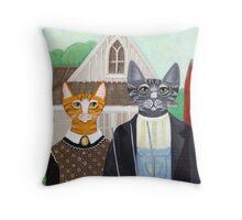 Ameowican Gothic Throw Pillow