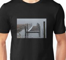 Snowy Day at the Nissequogue Boat Slips Unisex T-Shirt