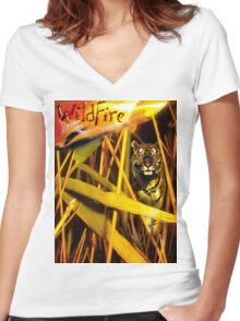Tiger In The Grass Women's Fitted V-Neck T-Shirt