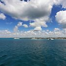 Boats in Caribbean sea by Tom Prokop