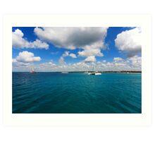 Catamarans in Caribbean sea Art Print
