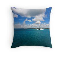 Catamarans in Caribbean sea Throw Pillow