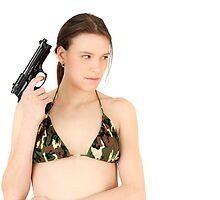 Young Girl with Gun by Tom Prokop