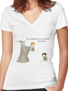 It's Dangerous to Go Alone. Take this. Women's Fitted V-Neck T-Shirt