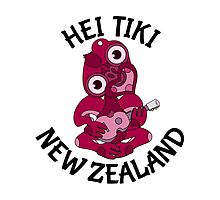 Pink Hei Tiki with ukulele by piedaydesigns