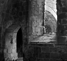 Arches Fountains Abbey B & W by Ray Clarke