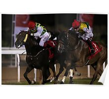 Horse Racing at night Poster