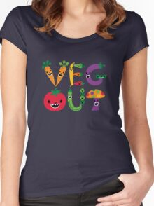 Veg Out - dark colors Women's Fitted Scoop T-Shirt