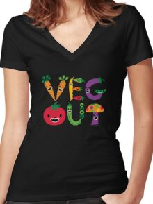 Veg Out - dark colors Women's Fitted V-Neck T-Shirt