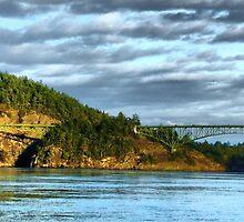 Deception Pass Bridge Panorama by Rick Lawler