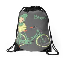 girl with bicycle Drawstring Bag