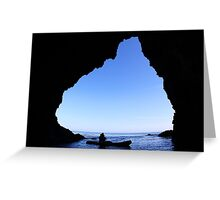 kayaker in Cave Greeting Card