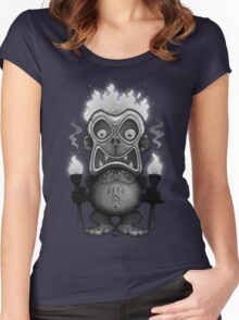 Tiki Munkee Black and White Women's Fitted Scoop T-Shirt