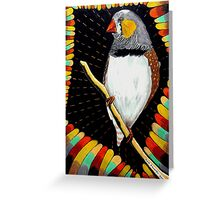 287 - RED ZEBRA FINCH - DAVE EDWARDS - COLOURED PENCILS & FINELINERS - 2010 Greeting Card