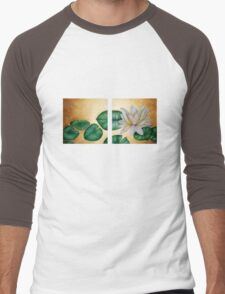 Water Lily on Gold background diptych Men's Baseball ¾ T-Shirt