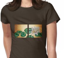 Water Lily on Gold background diptych Womens Fitted T-Shirt