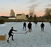Amish Hockey Game by Monte Morton
