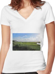 Beautiful Landscape Women's Fitted V-Neck T-Shirt