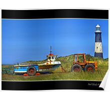 Tired Tractor at Spurn Point. Poster