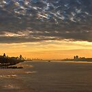 Fire and Ice-- The Hudson River New York City  Sunset HDR by Dave Bledsoe