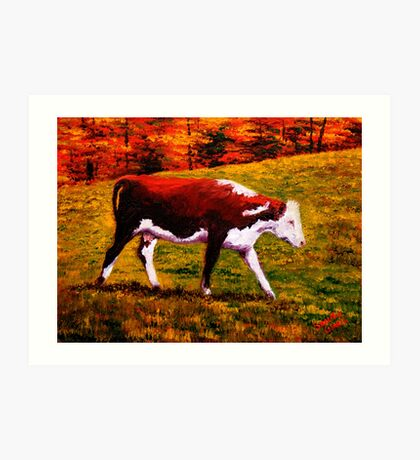 Cow in the Autumn Pasture Art Print