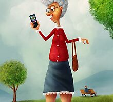Old lady with phone by Alexander Skachkov