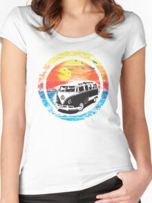 VW Kombi Sunset Design Women's Fitted Scoop T-Shirt
