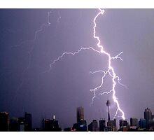 Lightning hits Sydney CBD at night Photographic Print