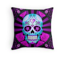 Blue and Purple Sugar Skull with Roses  Throw Pillow
