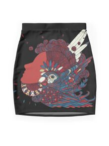 A girl with feathers in her hair Mini Skirt